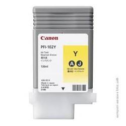 Encre Canon PFI-102 Jaune 0898B001 130ml pour traceur iPF500, LP17, iPF600, iPF605, iPF610, LP24, iPF650, iPF655, iPF700, iPF710