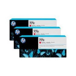 HP Ink B6Y32A No.771C Chromatic Rouge 3 x 775ml pour traceur Designjet Z6200ps