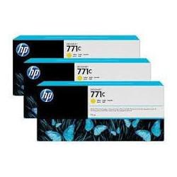 HP Ink B6Y33A No.771C Jaune 3 x 775ml pour traceur Designjet Z6200ps