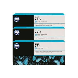 HP Ink B6Y36A No.771C Light Cyan 3 x 775ml pour traceur Designjet Z6200ps