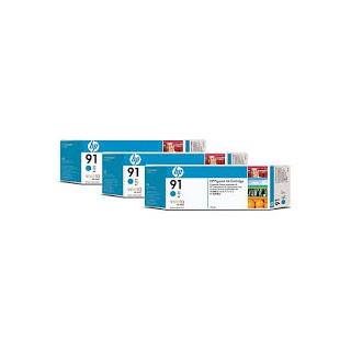 HP Ink C9483A No.91 Cyan 3 x 775ml pour traceur Designjet Z6100ps