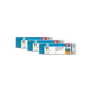 HP Ink C9485A No.91 Jaune 3 x 775ml pour traceur Designjet Z6100ps