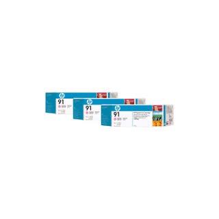 HP Ink C9487A No.91 Light Magenta 3 x 775ml pour traceur Designjet Z6100ps
