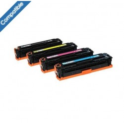 Pack 4 toners laser compatibles équivalent HP CC530A - CC531A - CC532A - CC533A